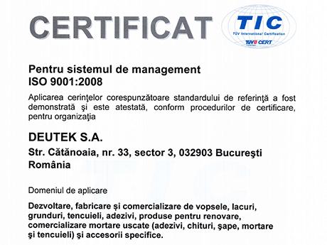 Certificat Pentru sistemul de management ISO 9001:2008